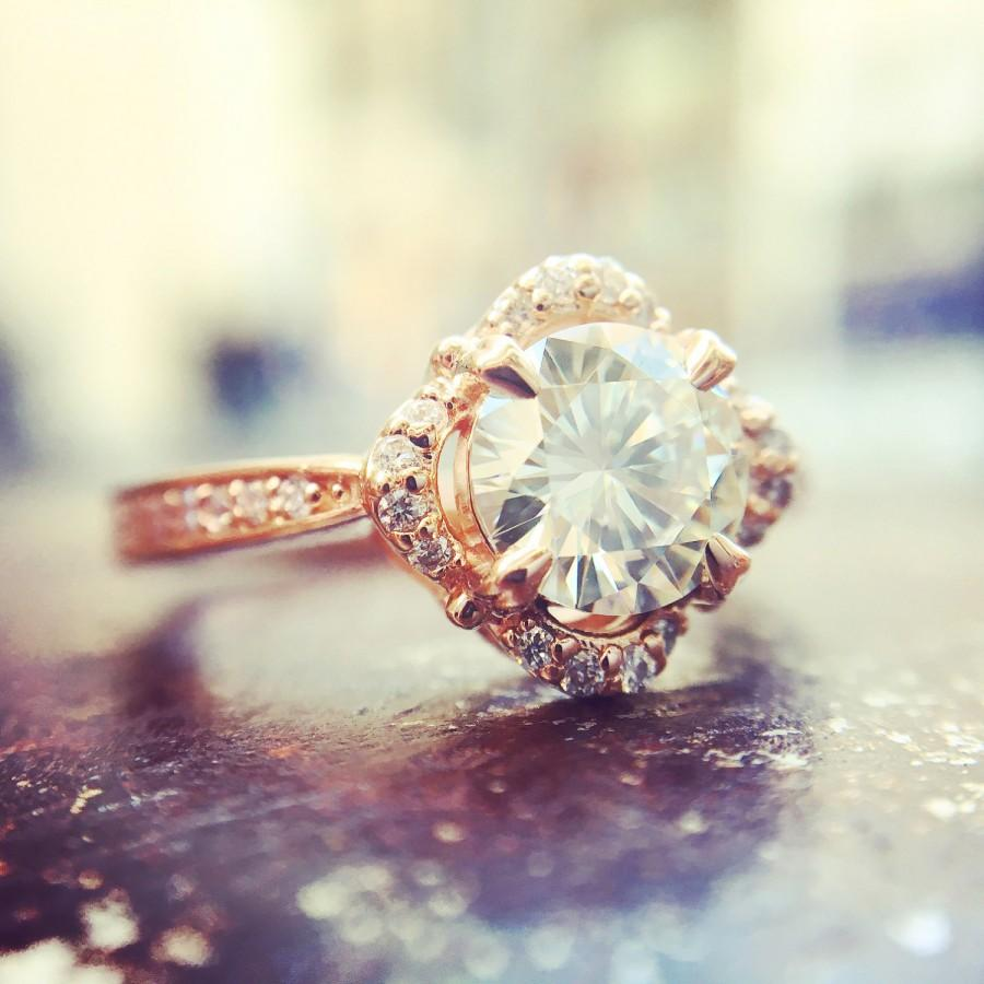 Свадьба - 1ct Moissanite Diamond Floral Vintage Halo Engagement Ring, 14K Rose Gold Anniversary Ring, Wedding Ring,  Vintage Halo Promise Ring