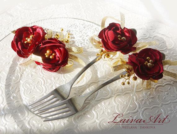 Свадьба - Wedding Forks Wedding Fork Set Burgundy and Gold Wedding Forks