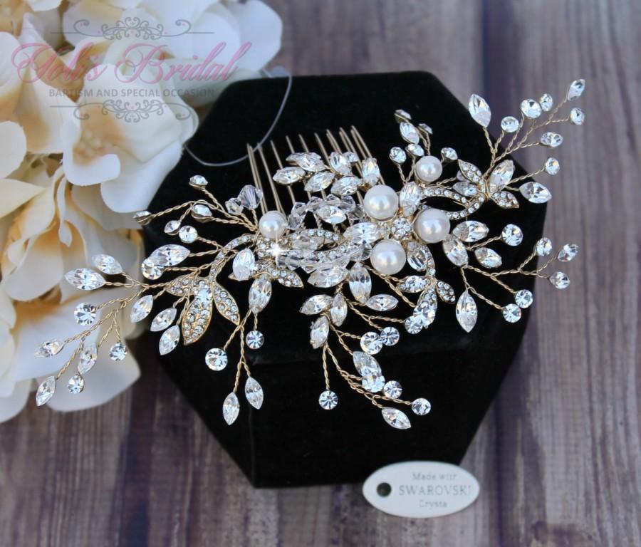Свадьба - Silver or Gold Bridal Hair Comb, Wedding Hair Comb, Crystal Hair Comb, Swarovski Hair Comb, Hair Comb, Headpiece, Crystal Headpiece