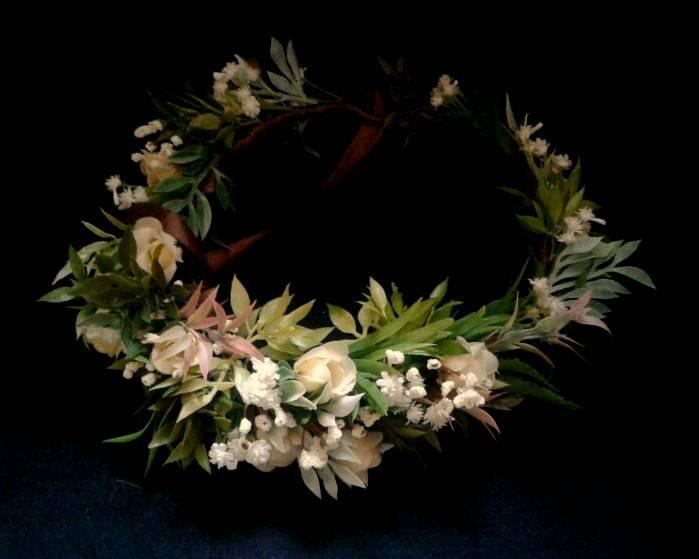 Mariage - Greenery wedding flower crown bridal headpiece woodland headband boho style baby breath floral crown bridal wreath boho wedding ivory roses