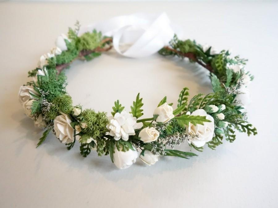 Свадьба - White Flower Crown, Fern Crown, Flower Crown, Boho Hairpiece, Woodland Wedding, Bridal Crown, Moss Head Wreath, Forest Wedding, SERENITY