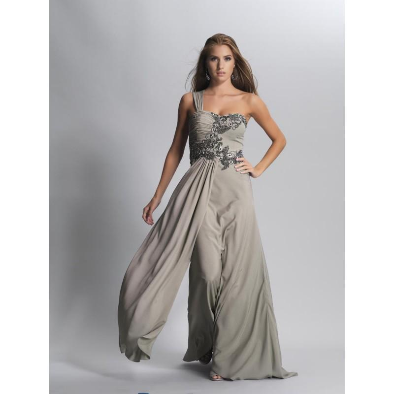 2014 Classic Floor Length Chiffon Empire One Shoulder Grey Prom