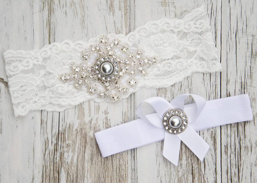 Свадьба - Gray Pearl Wedding Lace Garter Set Crystal Bridal Heirloom Spring Summer Vintage Rustic Silver