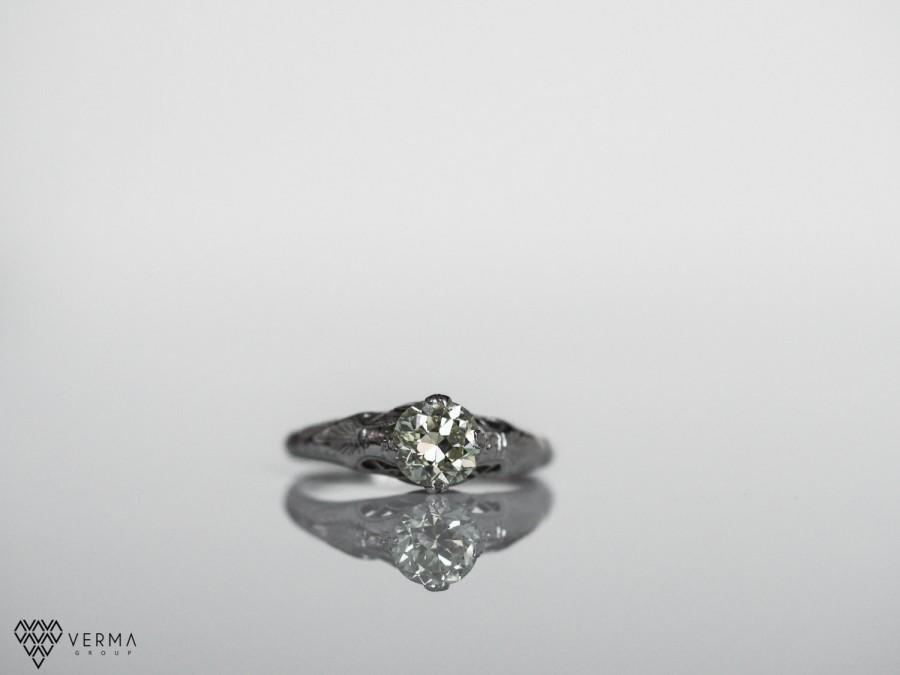 Свадьба - Antique Edwardian Platinum Engagement Ring w/ .80ct Light Yellowish Old European Cut Diamond VEG #7