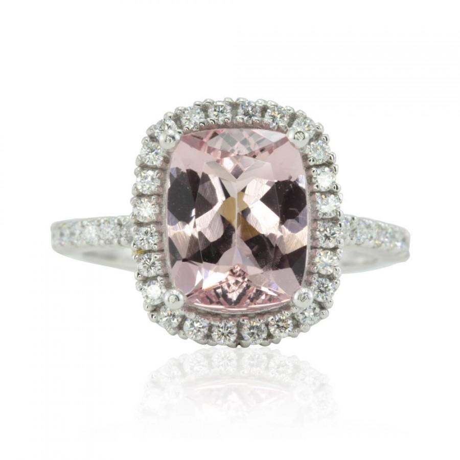 Свадьба - Morganite Engagement Ring - 8x10mm Cushion cut Pink Morganite Ring with Diamond Halo in 14k Gold, 18k Gold, or Platinum - LS2449