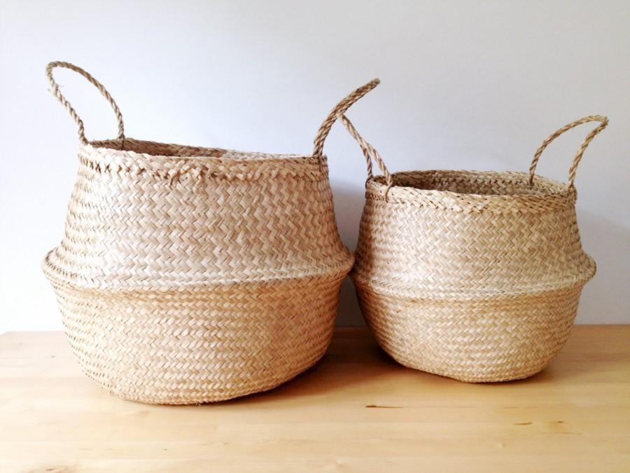 Sea grass belly basket panier boule storage nursery beach picnic toy laundry - Diametre panier basket ...