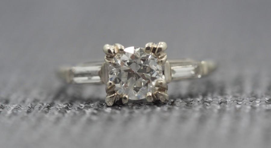 Свадьба - Antique 14K White Gold Engagement Ring w/ .83ct Old European Cut Diamond & Baguette's VEG #39