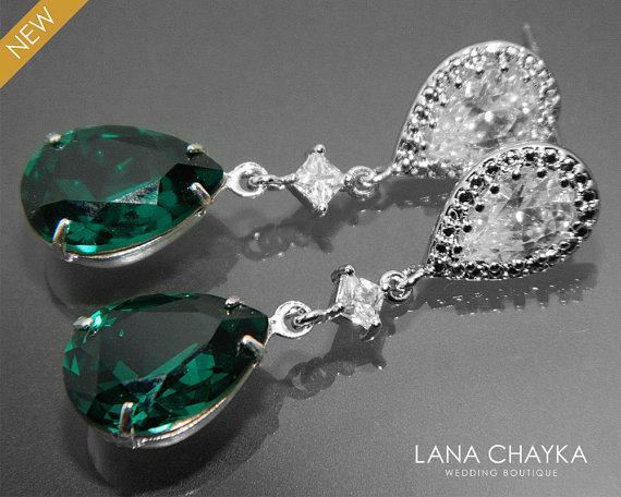 Wedding - Emerald Crystal Wedding Earrings Swarovski Emerald Green Rhinestone Earrings Green Teardrop Silver CZ Bridal Earrings Bridesmaid Jewelry