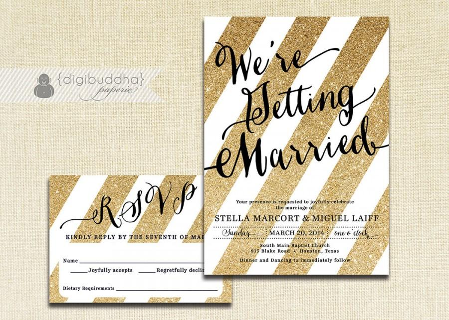 Mariage - Gold and Black Wedding Invitation & RSVP 2 Piece Suite Gold Glitter Stripes Modern Black Script Shabby Chic DiY or Printed- Stella
