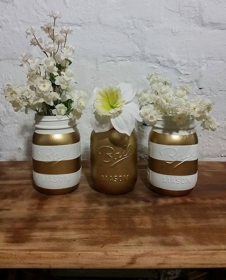 White And Gold Mason Jars Set Of 3, Shabby Chic Decor, Wedding ...