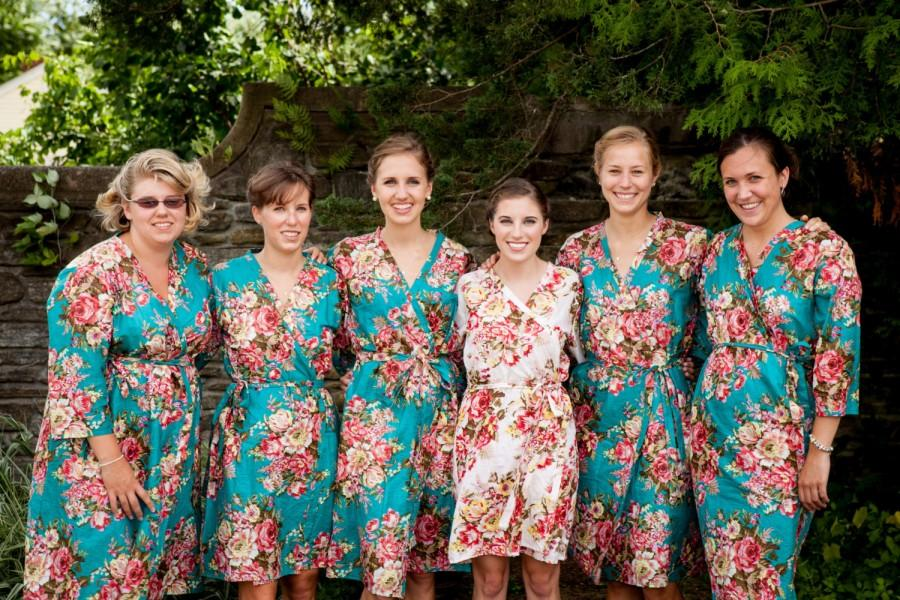 Свадьба - FLASH SALE - Teal Rosy Red Posy Bridesmaids robes