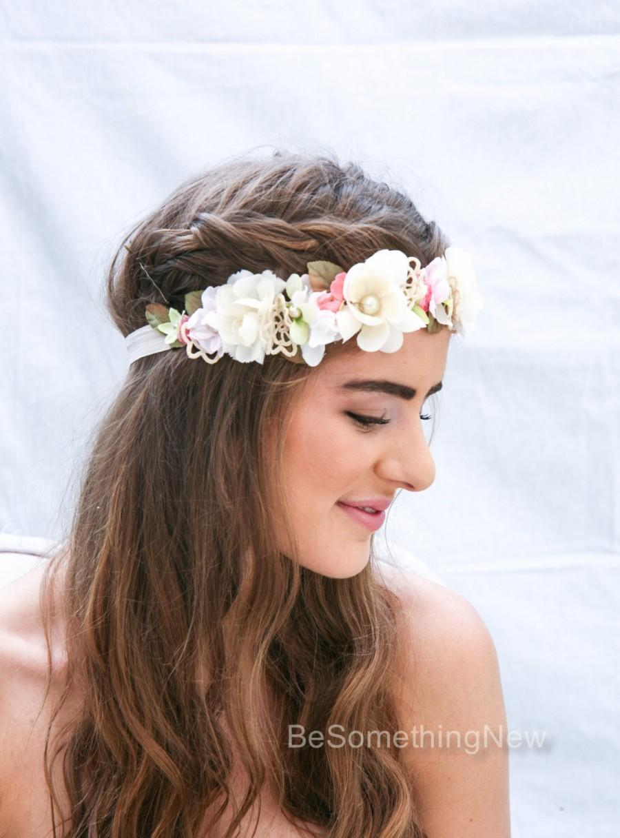 Wedding Flower Crown Boho Crown In Pink And Ivory With Vintage Lace