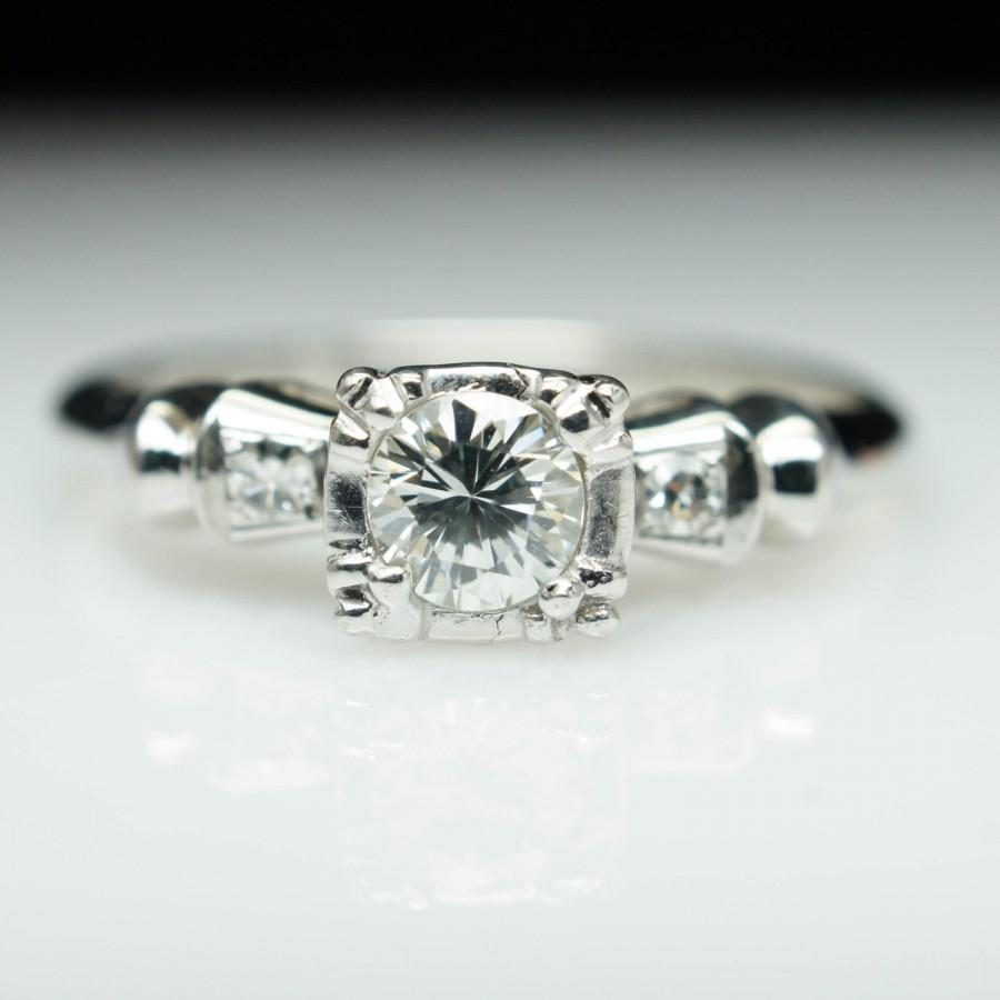 Mariage - Vintage Art Deco Diamond Engagement Ring Illusion Set Art Deco Engagement Dainty Unique Engagement Diamond Ring Delicate Vintage Wedding