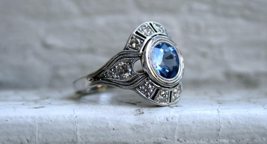 Mariage - Vintage Inspired Diamond Halo Sapphire Engagement Ring Wedding Ring in 14K White Gold.