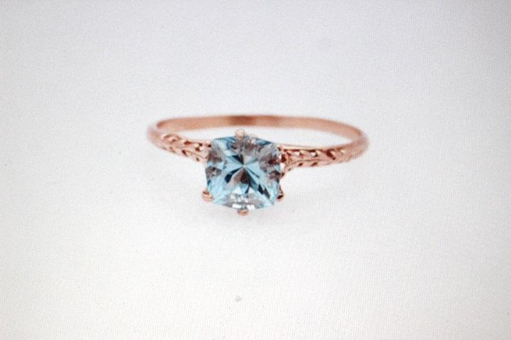 Mariage - Aquamarine Ring,1950's14K 1 ct Aquamarine Engagement Ring,Rose Gold,Anniversary,Wedding Band,Christmas gift for her