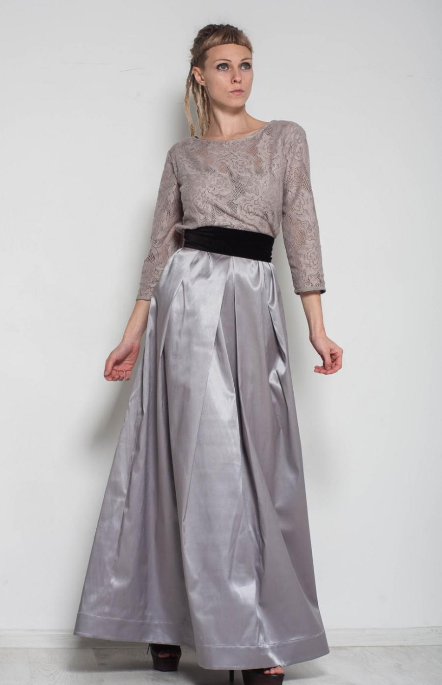Maxi Formal Dress Evening Grey Dress Flared Lace Dress Long Sleeve