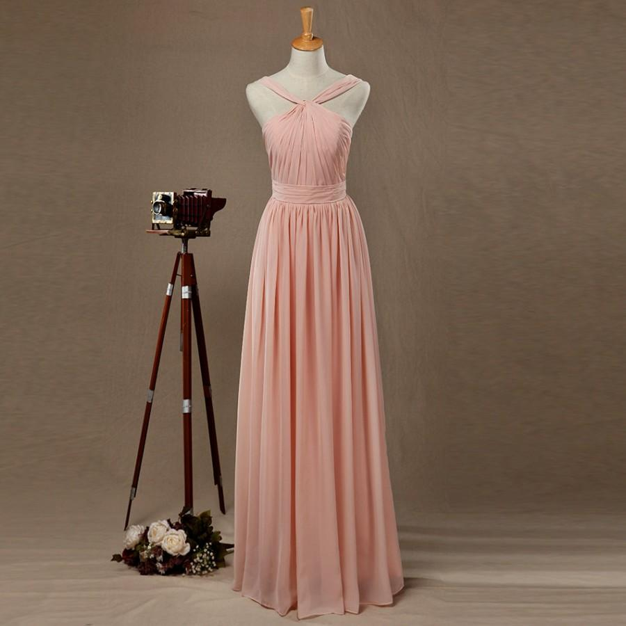 Свадьба - 2016 Blush Bridesmaid dress, Long Blush Wedding dress, A Line Chiffon Formal Dress, Backless Detachable Straps Cocktail Dress Floor Length