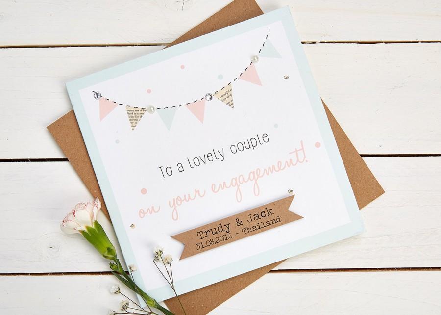 زفاف - Engagement Card Personalised Pastel Bunting