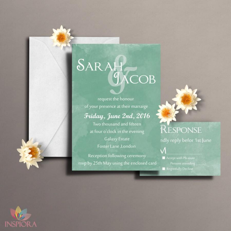 Wedding - DIY Watercolor Wedding Invitation, Printable Watercolour Invitations, Custom Wedding Invites