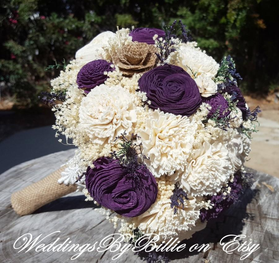 Fall Bouquets Wedding Burlap LacePlum Sola BouquetPurple BouquetAlternative BouquetRusticBridal AccessoriesKeepsake Bouquet