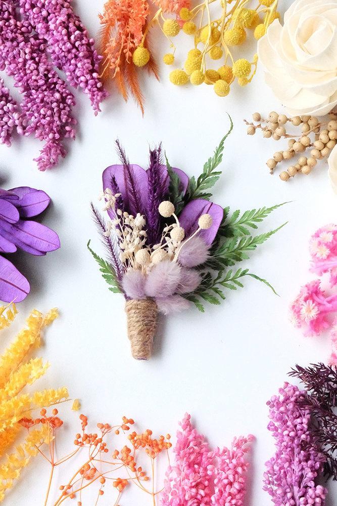 Свадьба - Purple Green Dried Flowers Boutonniere