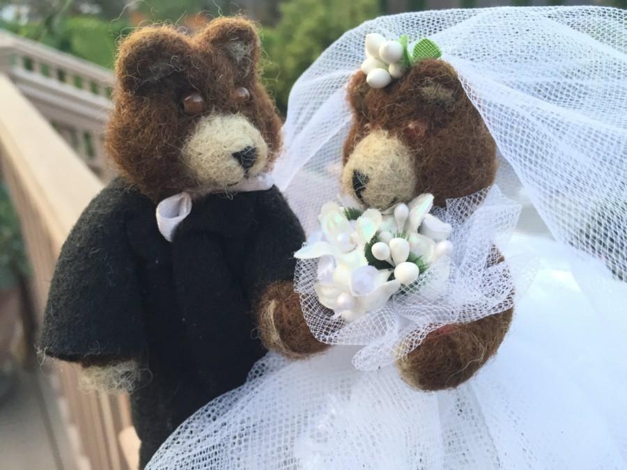 Mariage - Wedding Cake Topper Bear , wedding cake topper animal , cake topper wedding bear , cake topper wedding animal , bride and groom wedding gift