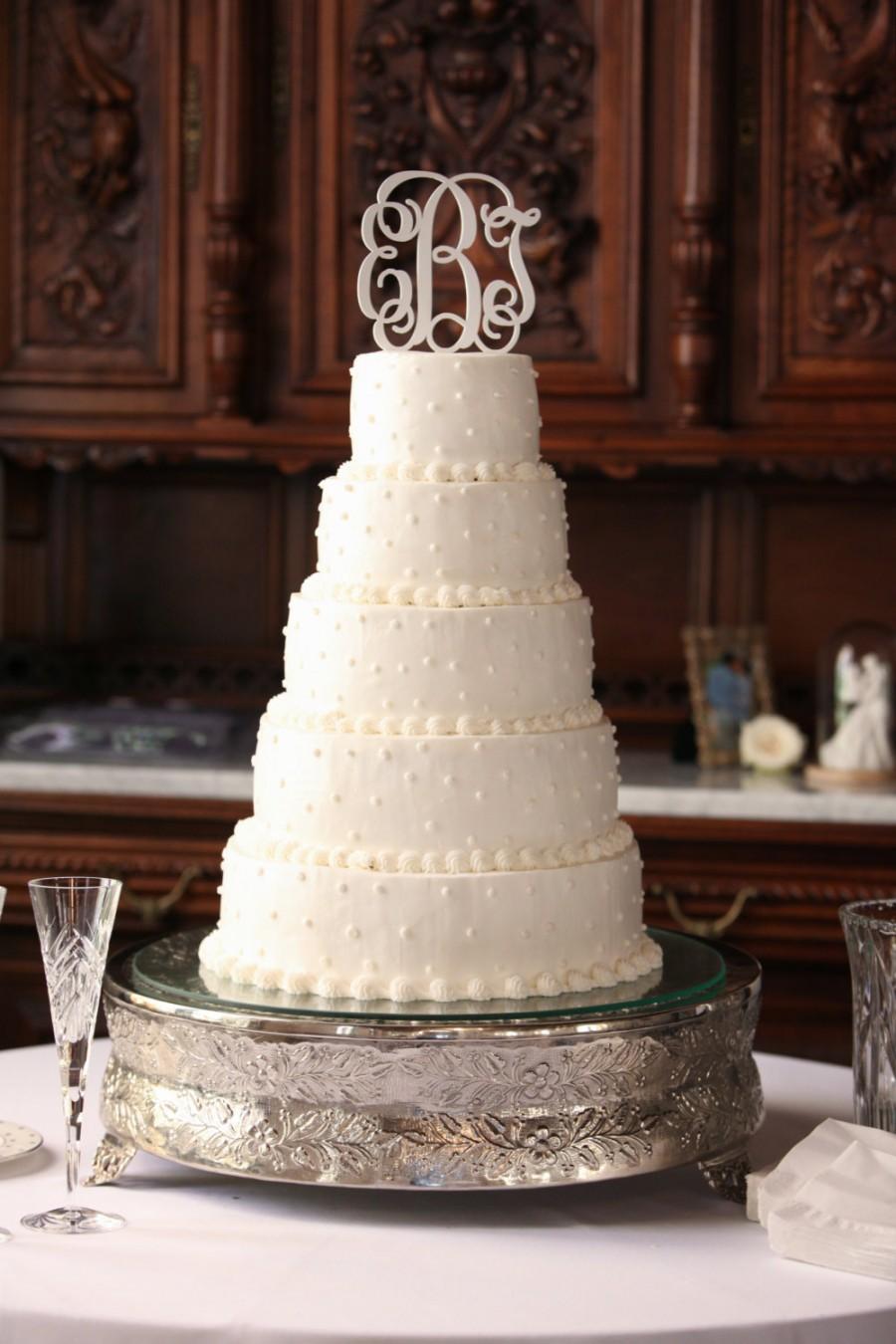 Hochzeit - Monogram Cake Topper - Personalized Cake Topper - Bride's Cake - Initial Cake Topper - Painted