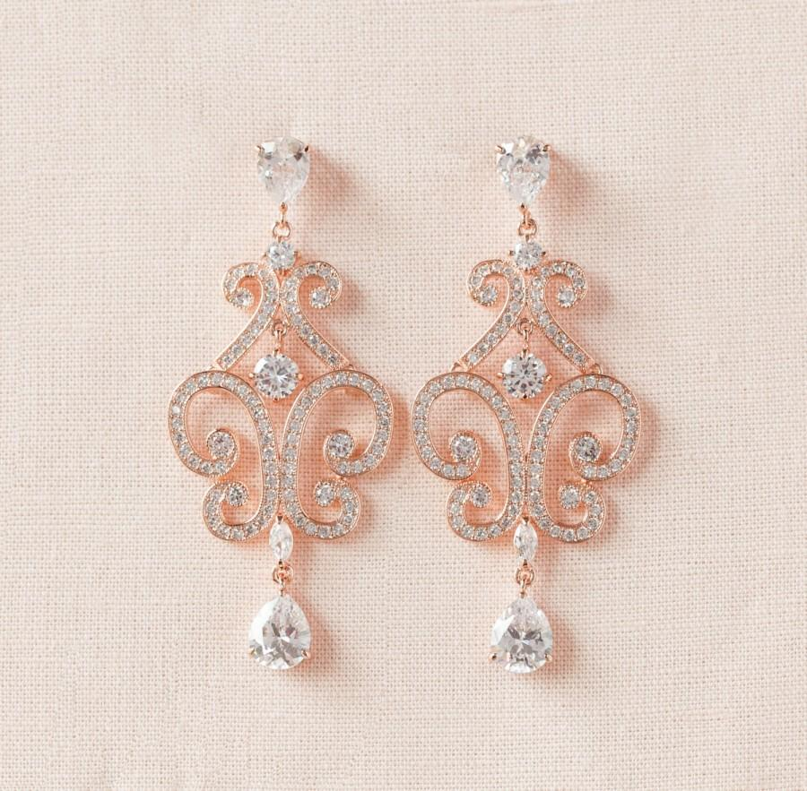 Rose Gold Wedding Earrings Chandelier Bridal Jewelry Jewellery Swarovski Bridesmaids Michelle