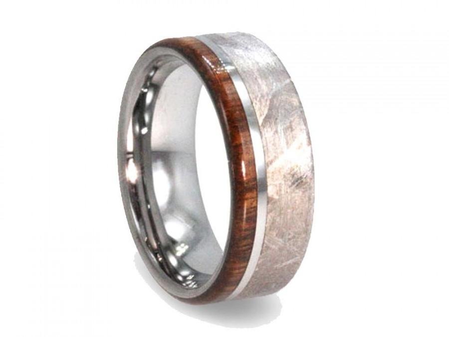 handmade meteorite ring mens wood ring tungsten wedding