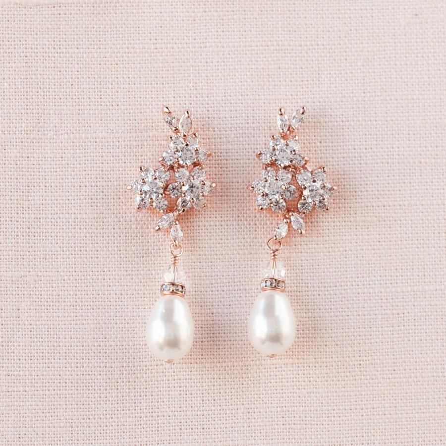 Rose Gold Bridal Earrings, Pearl And Crystal Wedding Earrings, Gold Bridal  Jewelry, Wedding Jewellery, Swarovski, Bridesmaid, Piper Earrings