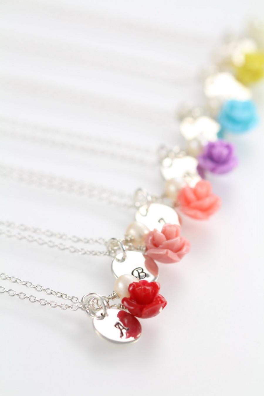 زفاف - Flower Charm Necklace, Personalized Flower Girl Initial Jewelry, 925 Sterling Silver
