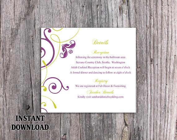 Wedding - DIY Wedding Details Card Template Editable Word File Download Printable Purple Details Card Green Details Card Elegant Information Cards