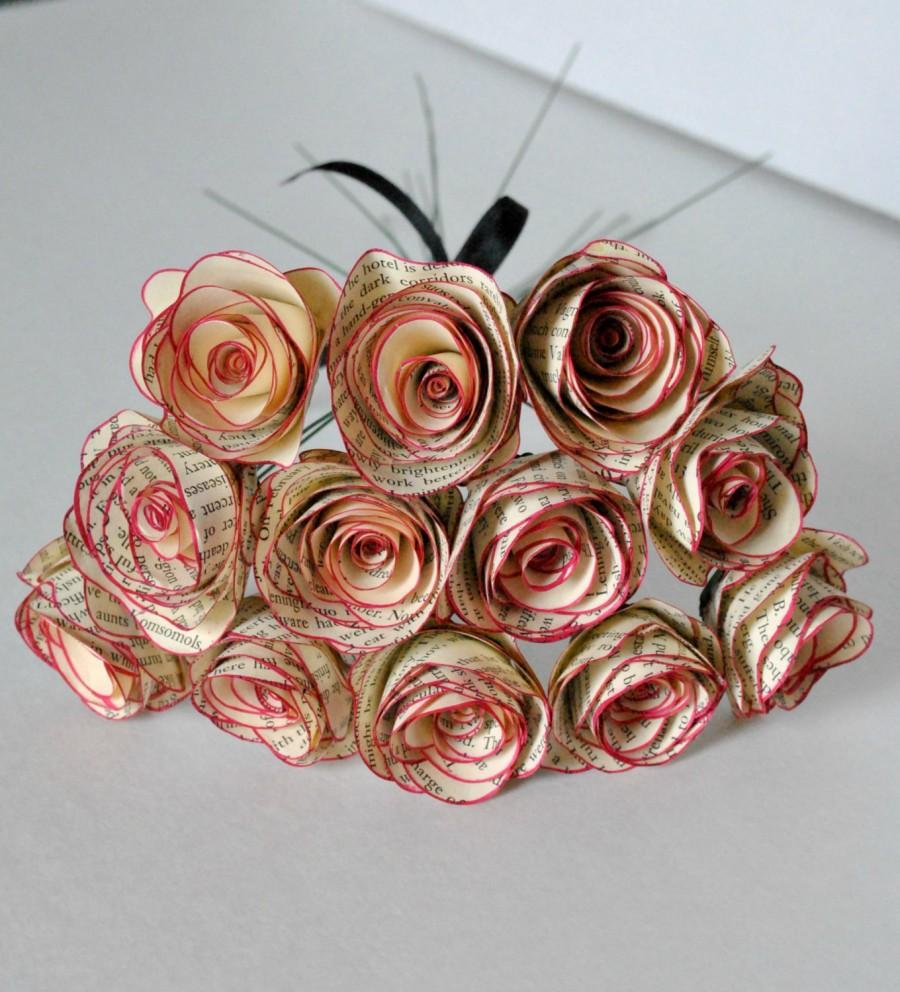 One Dozen Vintage Berry Color Trim Paper Flowers Stemmed Paper Roses