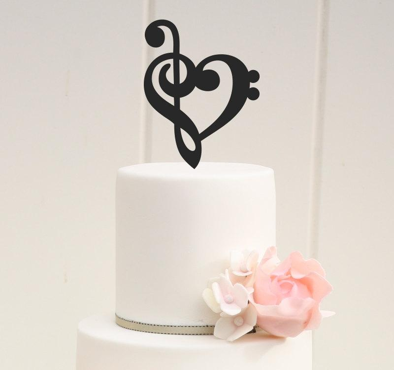 Mariage - Custom Wedding Cake Topper Music Note Heart Topper