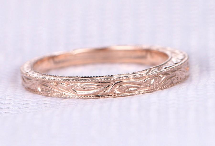 Mariage - Carving Milgrain Wedding ring,Anniversary ring,Infinity Band,14k Rose gold,Unique Matching Band,Filigree,fine design,Personalized for her