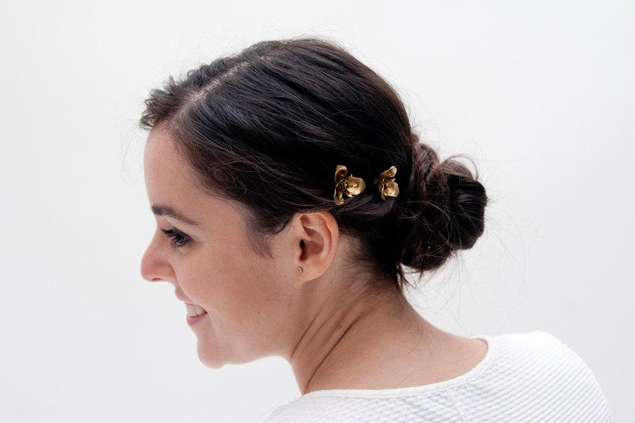 Wedding - Nandag - Golden Hair Pins with flower shape