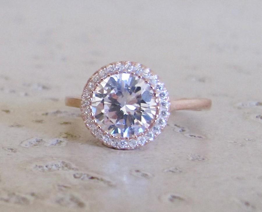 زفاف - 3.75cts Engagement Ring Rose Gold- Cubic Zirconia Ring- Wedding Bridal Ring- Classic Halo Setting Ring- Promise Ring for her- CZ Ring- 925