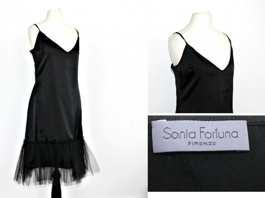 زفاف - Designer Black Strap Dress Sonia Fortuna Black Semi sheer silky Slip dress Petticoat Grunge Sexy Made in italy Tulle Skirt Extender Slip