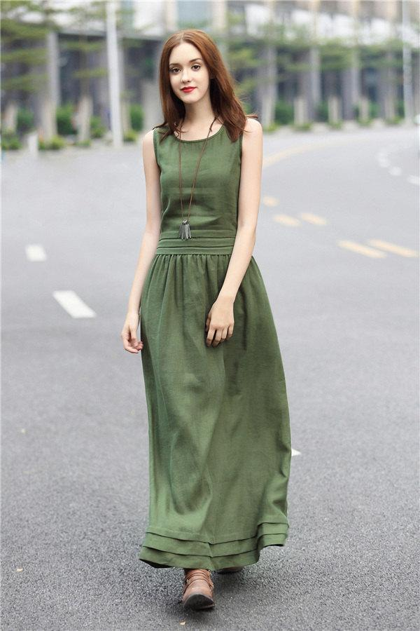 Boda - maxi green linen dress with pintuck bottom (many colors), long linen evening dress, maxi cocktail dress, party dress, elegant dress, plus