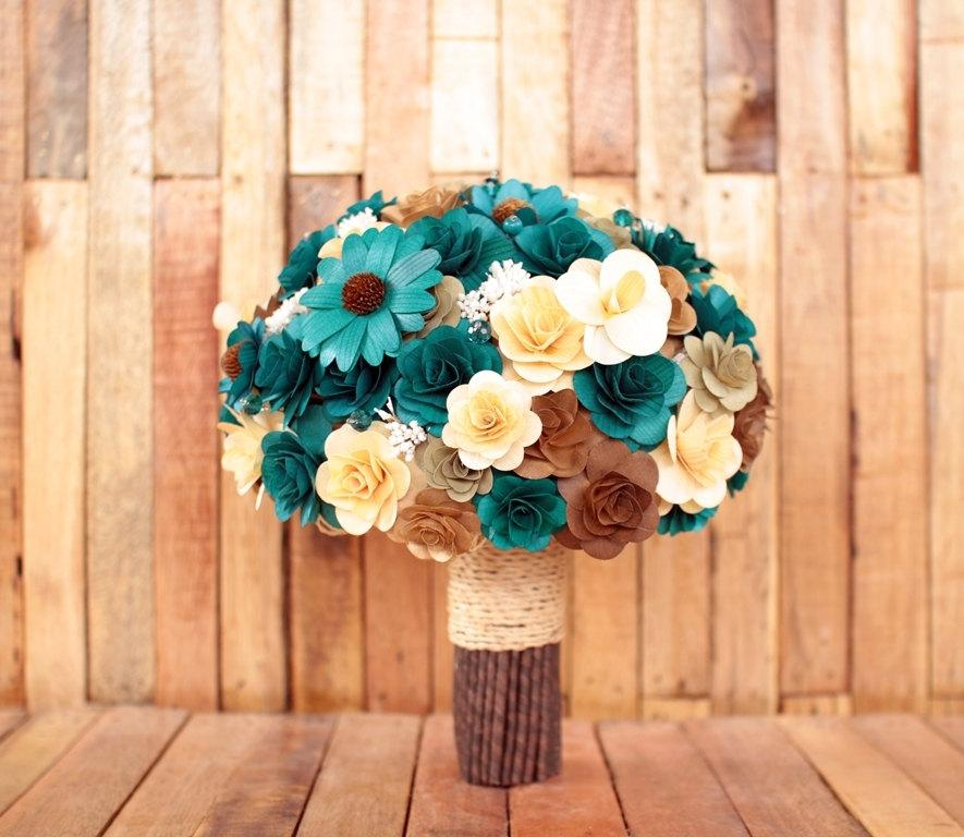 Teal And Brown Rustic Wooden Bouquet For Wedding And Home Decor ...