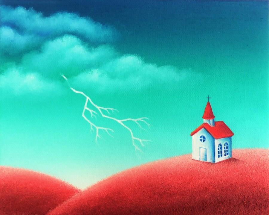 Wedding - ORIGINAL Painting, American Folk Art Landscape Painting, Primitive Folk Art Painting on Canvas, Primitive Church, Lightning Storm, 8x10
