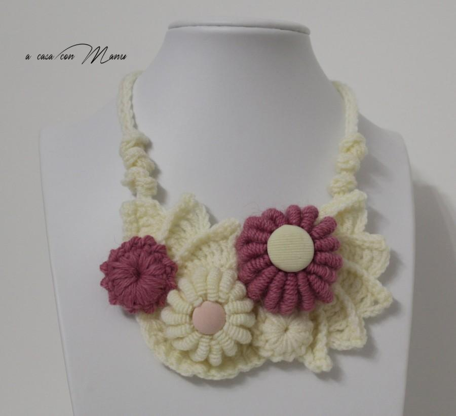 Mariage - Collana uncinetto forma libera, freeform crochet necklace, collana crochet free form, uncinetto collana, regalo, handmade, made in Italy