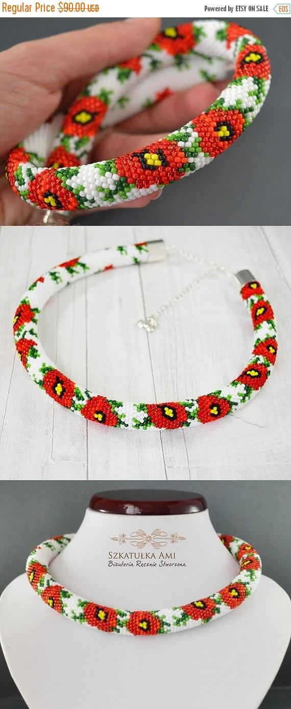 Wedding - CHRISTMAS SALE Poppies necklace, orange necklace, Necklace, bead crochet rope, jewelry, necklace poppies, flower necklace, sumer necklace, g