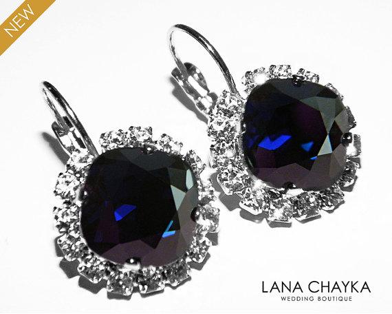 Mariage - Dark Navy Blue Crystal Halo Earrings Swarovski Dark Indigo Rhinestone Leverback Sparkly Earrings Deep Blue Crystal Wedding Blue Jewelry