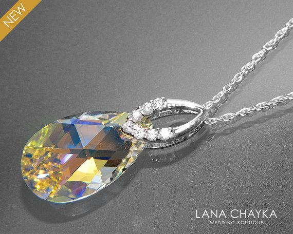 Свадьба - Aurora Borealis Crystal Necklace Sterling Silver CZ Aurora Borealis Pendant Necklace Swarovski AB Crystal Wedding Necklace Wedding Jewelry