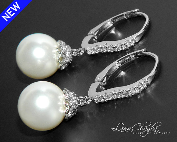 Wedding - Bridal Swarovski 10mm White Pearl Earrings White Pearl Silver Leverback Earrings White Pearl Cubic Zirconia Earring Bridesmaid Pearl Jewelry