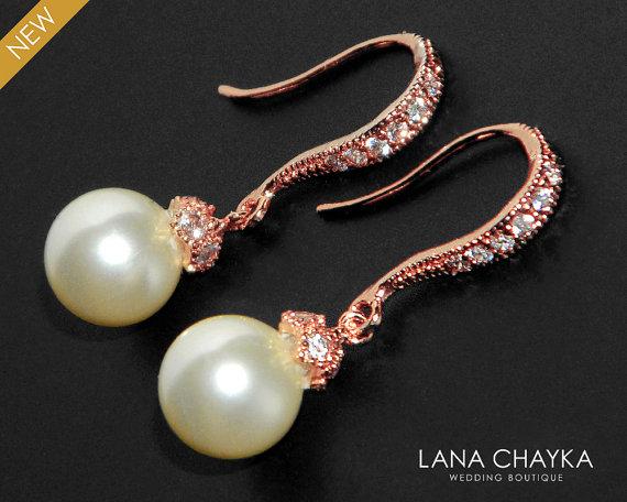 Свадьба - Ivory Pearl Rose Gold Earrings Swarovski 8mm Pearl CZ Earrings Bridal Pearl Drop Earrings Wedding Rose Gold Small Earrings Bridesmaids