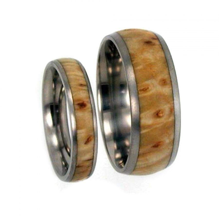 Hochzeit - Wooden Wedding Bands Set, Titanium Rings Made With Black Ash Burl, Matching Ring Set
