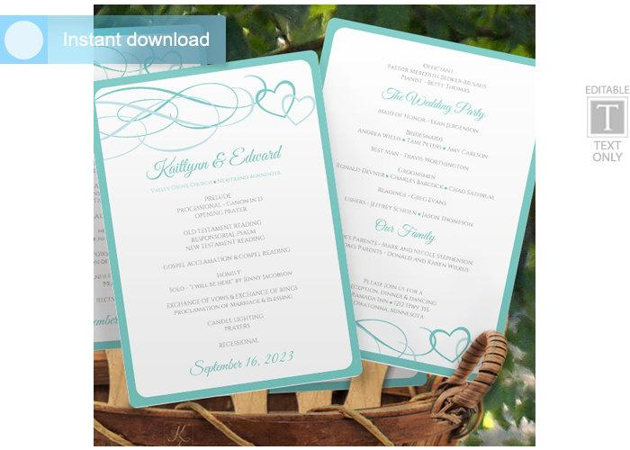 Mariage - Diy Wedding Fan Program Template -DOWNLOAD Instantly - EDITABLE TEXT - Beloved (Light Turquoise Blue) 5 x 7 - Microsoft® Word Format (docx)