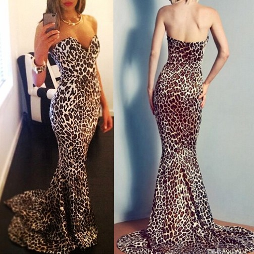 Mariage - Sexy Long Prom Dress - Sweetheart Mermaid with Leopard